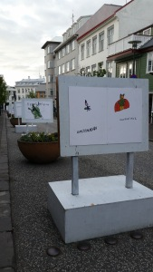 Children's Drawings lining Reykjavik Streets